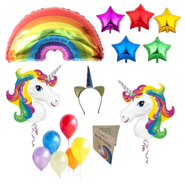 UNICORN BIRTHDAY PARTY SUPPLIES BALLOONS AND DECORATIONS FOR KIDS BIRTHDAY (RAINBOW)